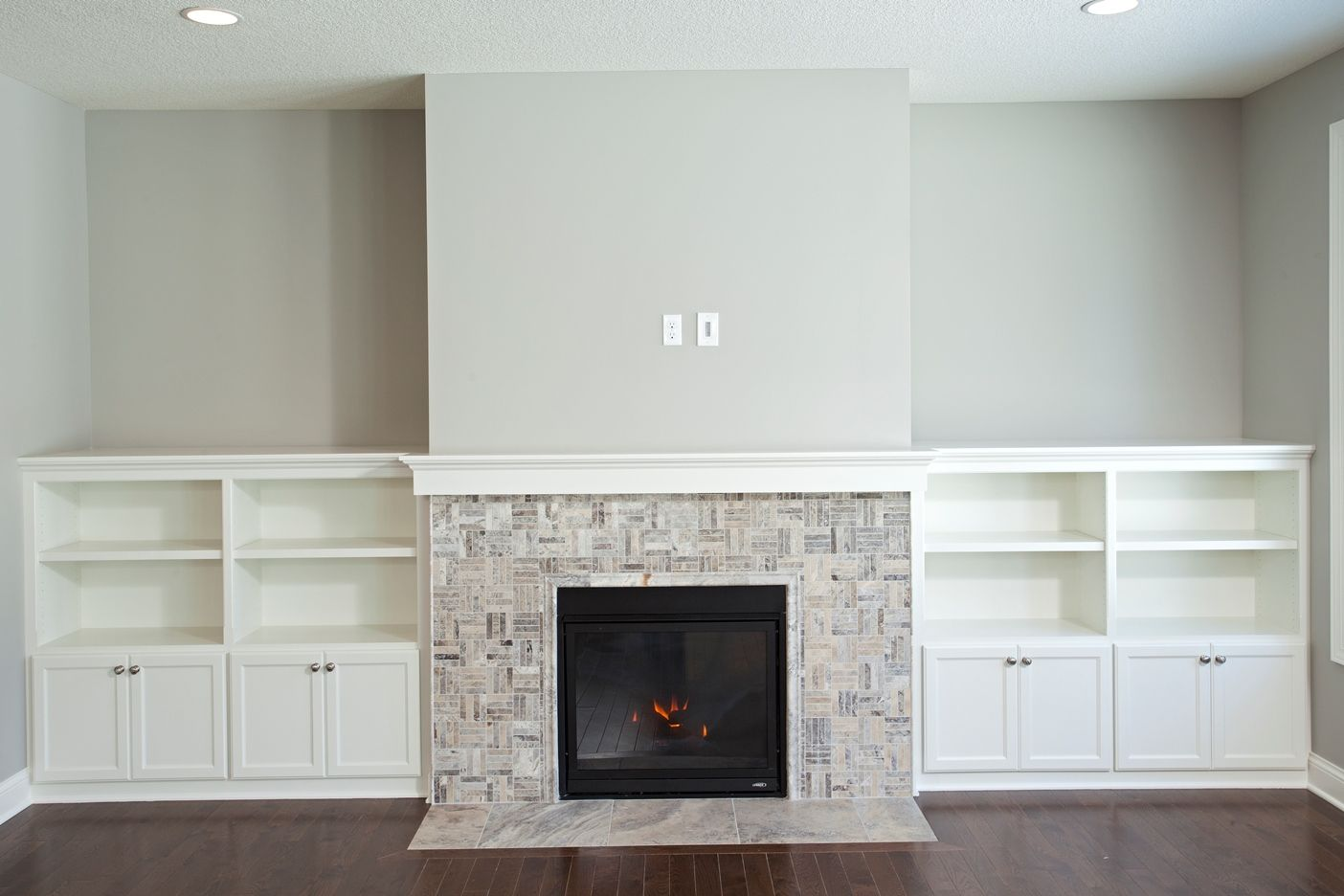 fireplace with built ins | Cobblestone France Open Floor ...
