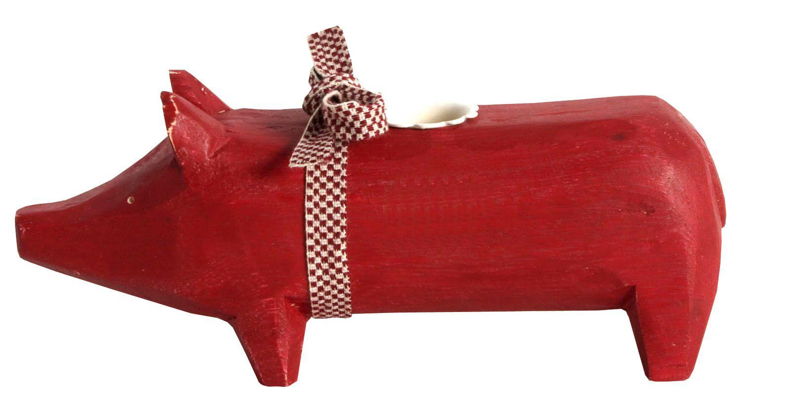 Maileg Holzschwein für eine Stabkerze