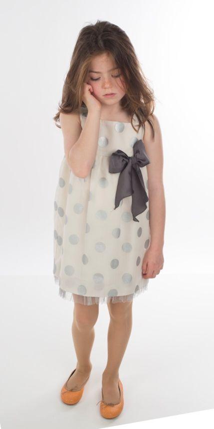 7d90fcefa E-shop - Primavera Verano 2015 - Niña - Vestidos Cortos - Vestido topos  plateados con lazo en el talle y tul en el bajo - Tienda moda infantil