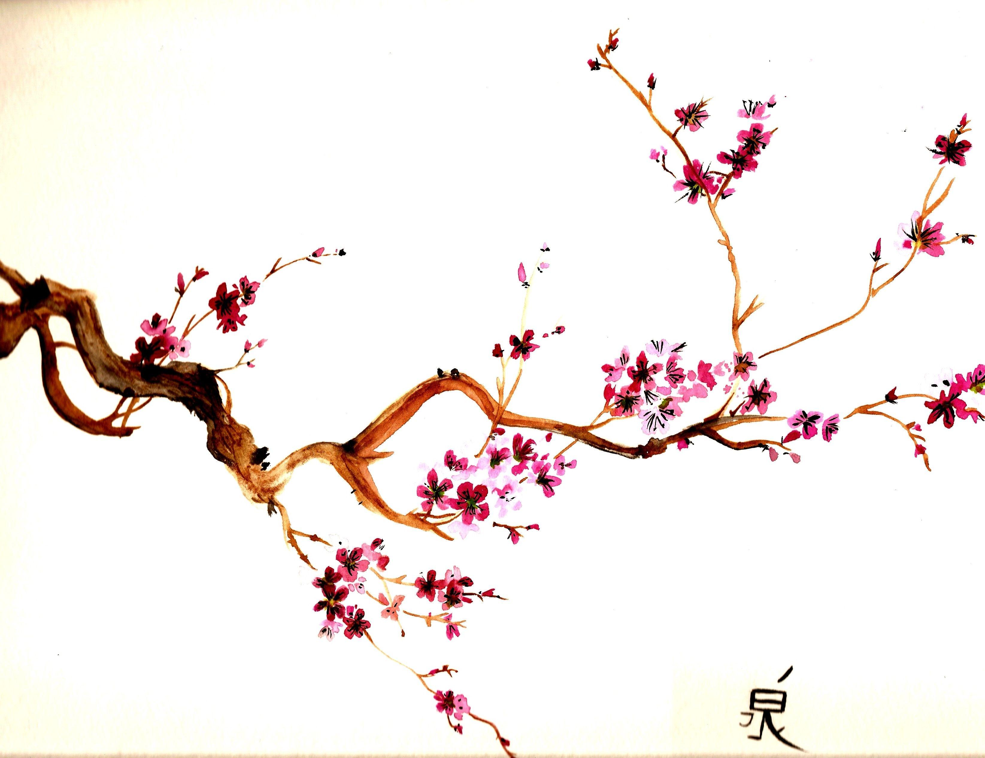Cherry Blossom Tree Painting Sakura Flor De Cerejeira Tatuagem
