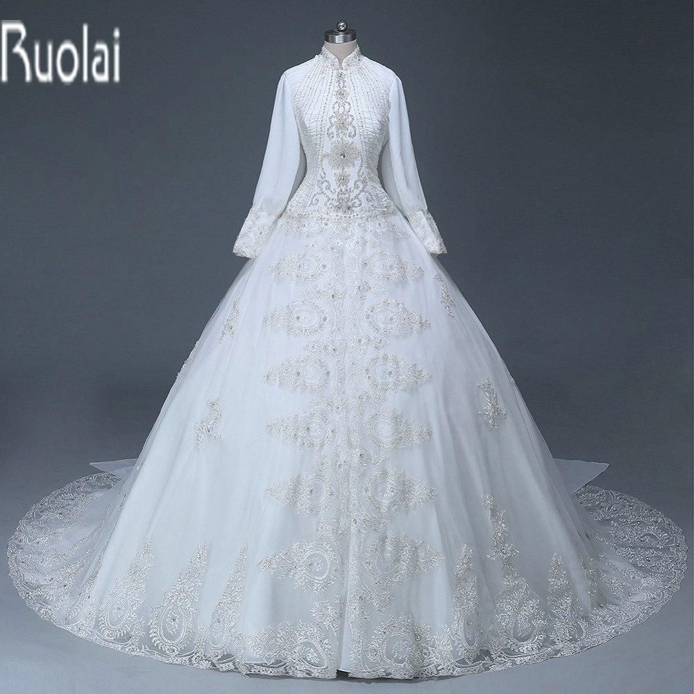 Custom Made Heavy Beading Lace Applique White Ball Gown Muslim ...