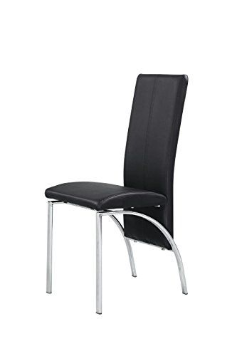 X6 Faux Leather Dining Chairs In Black With Thick Foam Pa Https