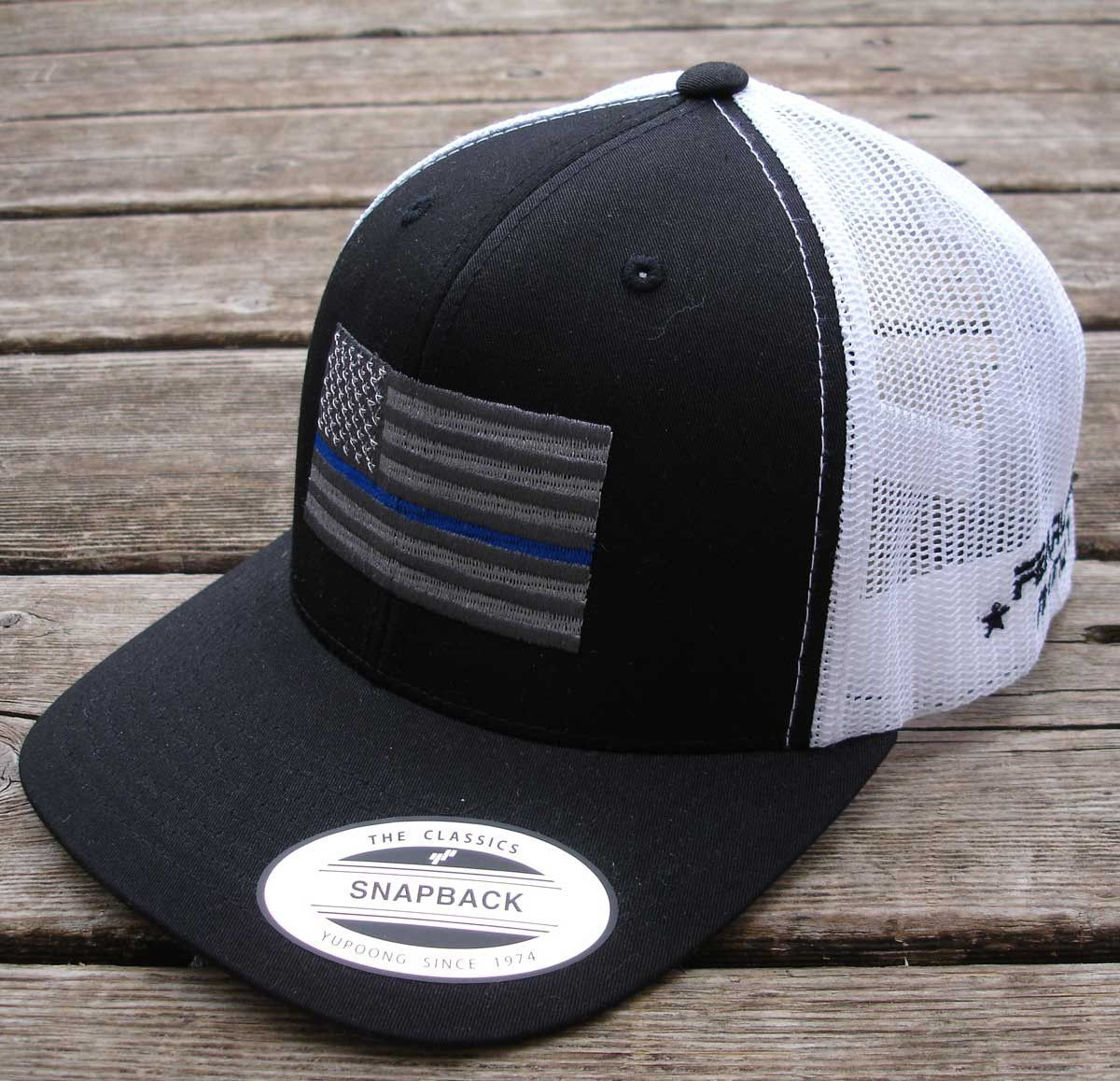 Black   White trucker Snap Back cap with Metallic Thin Blue Line Flag... The