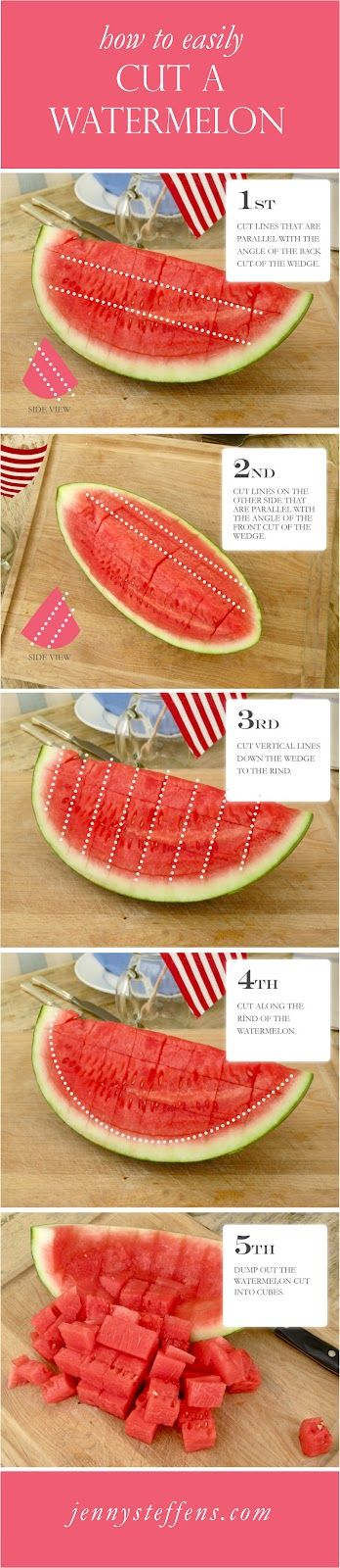 Super quick and easy way to cut a watermelon without a mess. Where was this when I butchered a watermelon several weeks ago?