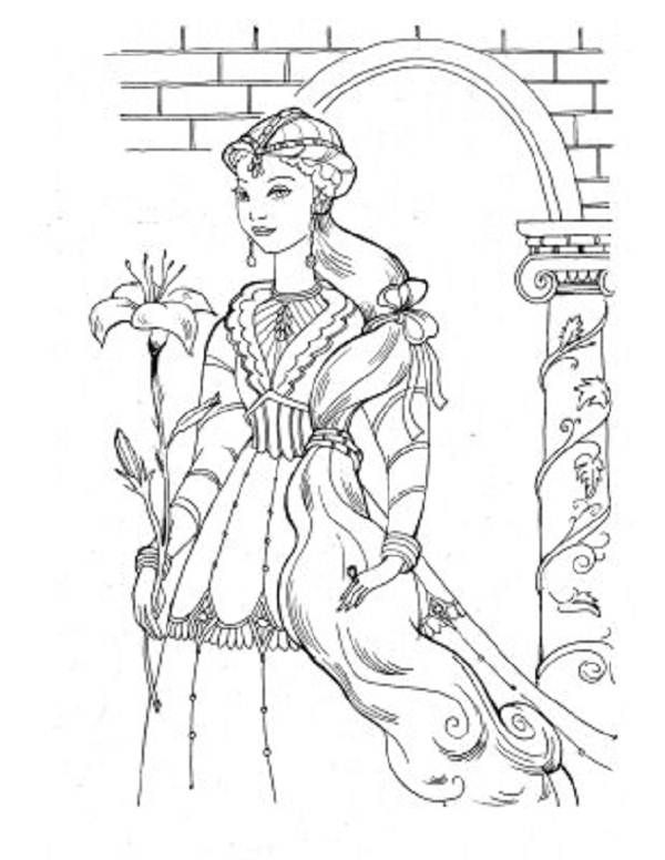 Detailed Medieval Princess Coloring Pages Medieval Princess