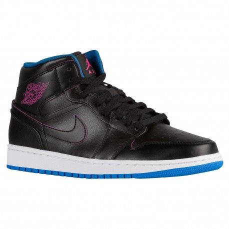 Jordan AJ1 Mid - Men s - Basketball - Shoes - Black Photo Blue Fire ... 173e42844
