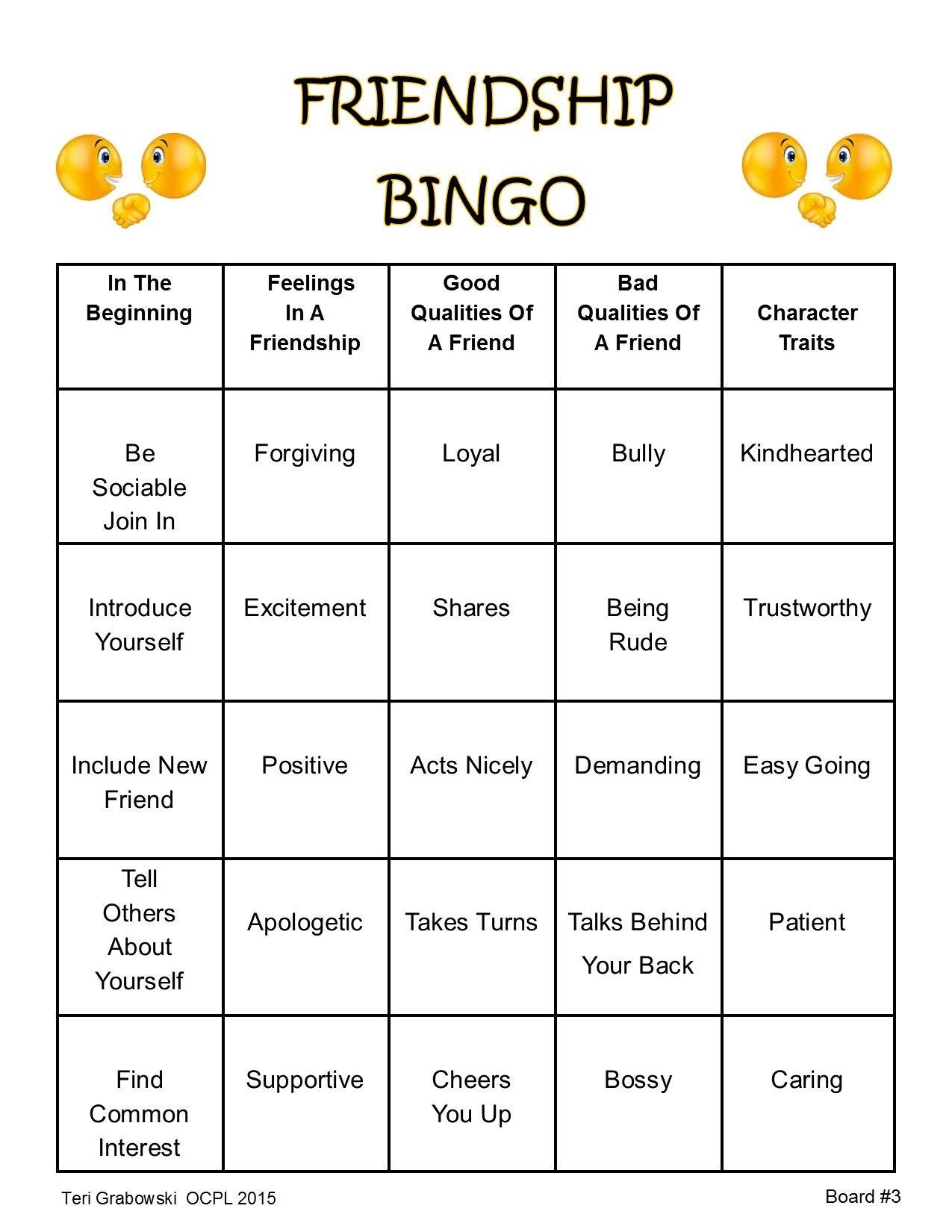 Friendship Bingo Card 3
