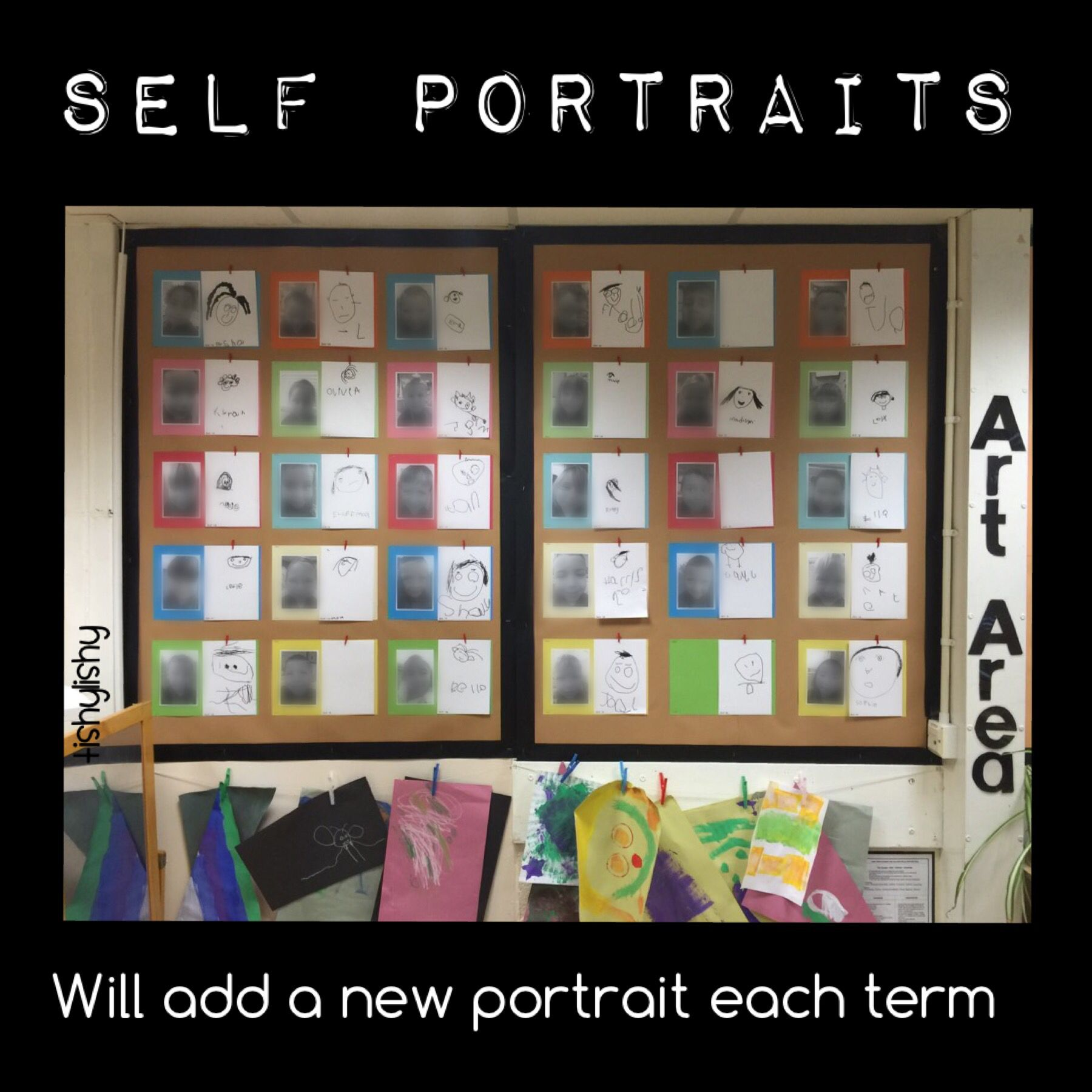 Display in our art area. Self portraits. First one drawn