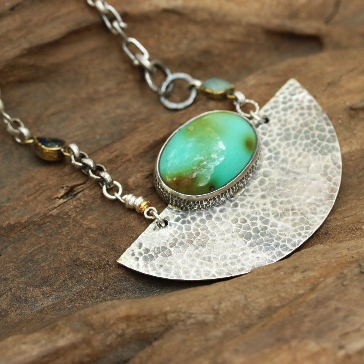 Green turquoise pendant necklace in silver bezel setting with silver