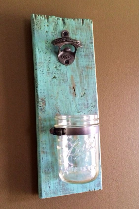 mason jar bottle opener wall mounted bottle by thesassypenny diy decor from wood pinterest. Black Bedroom Furniture Sets. Home Design Ideas