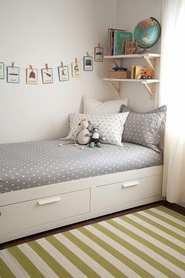 Einzelbett mit stauraum kinderzimmer einrichten bett mit stauraum wandgestaltung ideen ...
