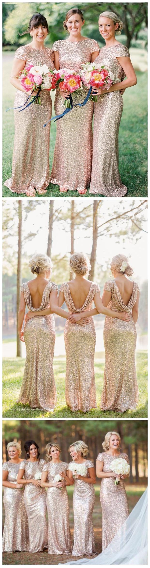 Modern scoop short sleeves gold sequin long mermaid bridesmaid