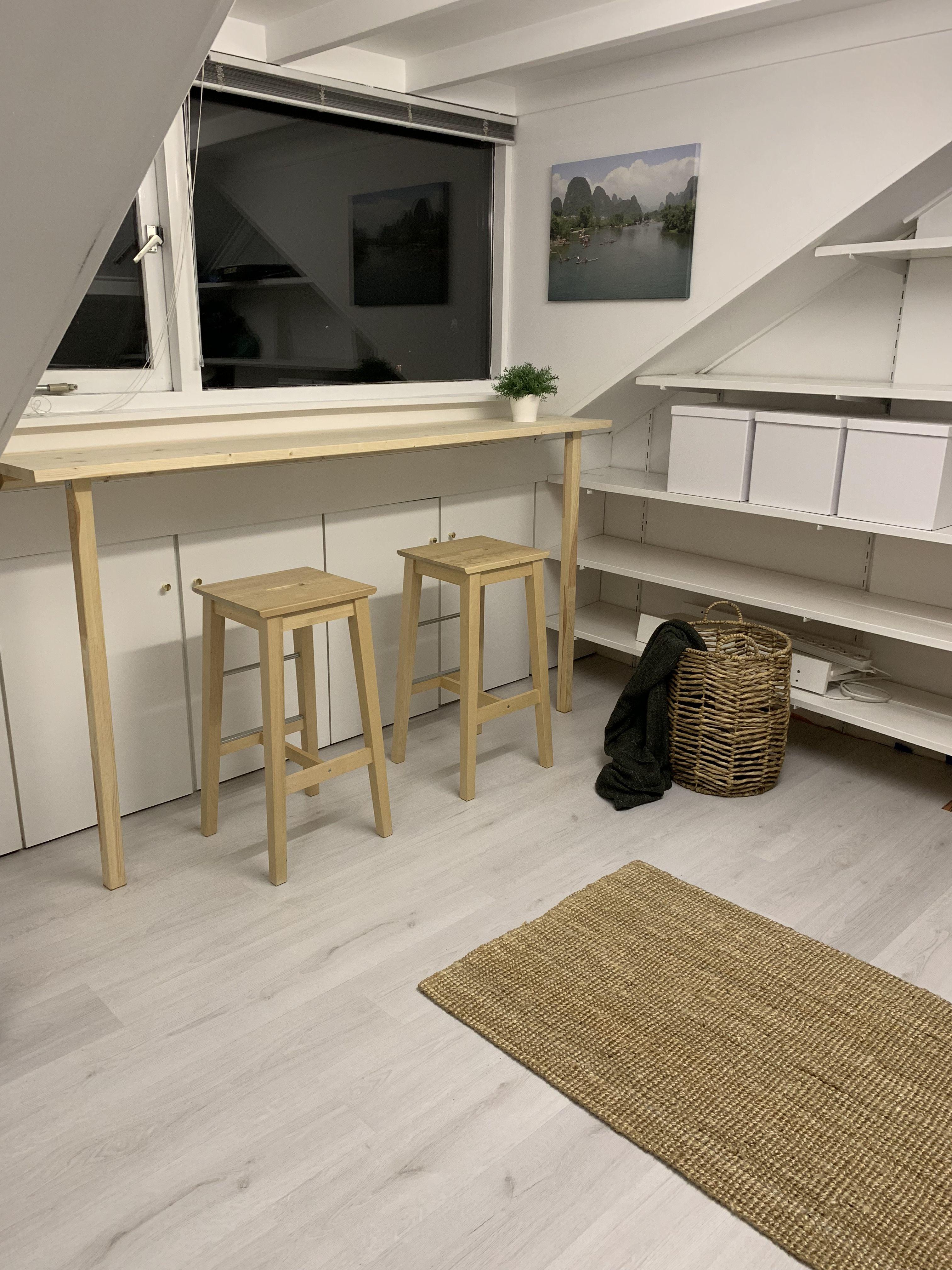 Goede Een bar bureau op zolder. Een hippe DIY werkplek idee. Ik heb EB-61
