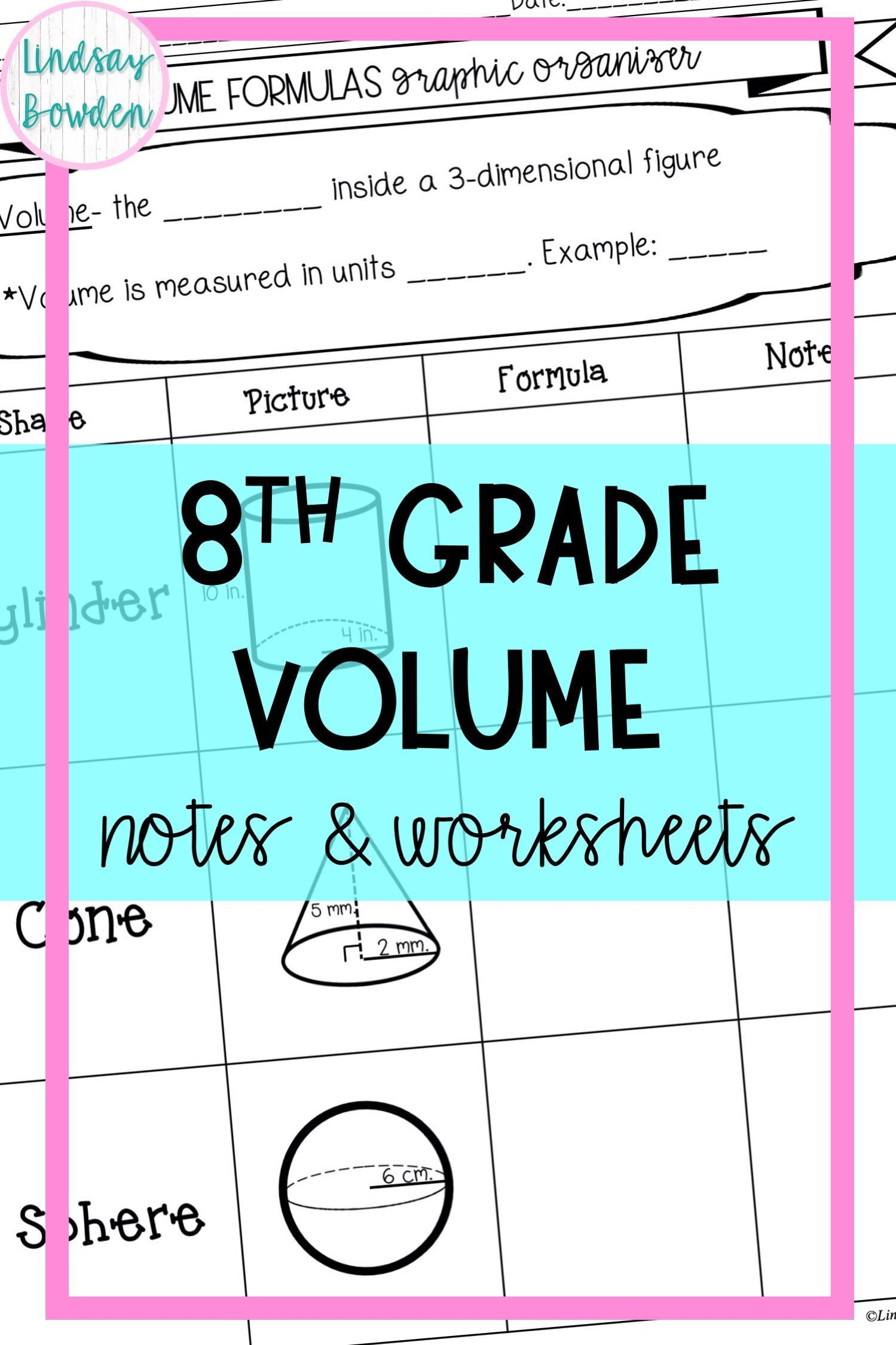 Volume Notes and Worksheets (8th Grade)   Middle school math resources [ 2249 x 1499 Pixel ]
