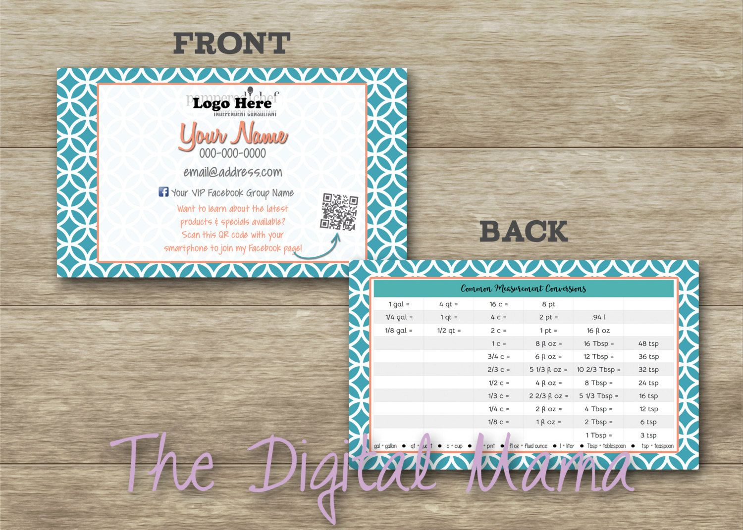 Pampered Chef Business Card Cooking Conversion Tara At Home Consultant Digital By Thedigitalmama On
