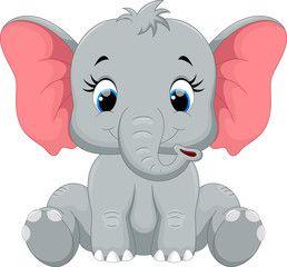 cute baby elephant cartoon sitting murales pinterest baby