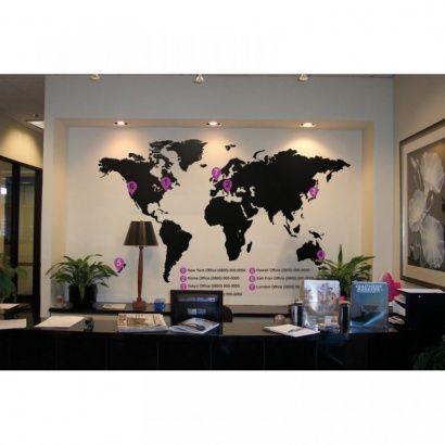 Vinylová samolepka na stenu, mapa sveta