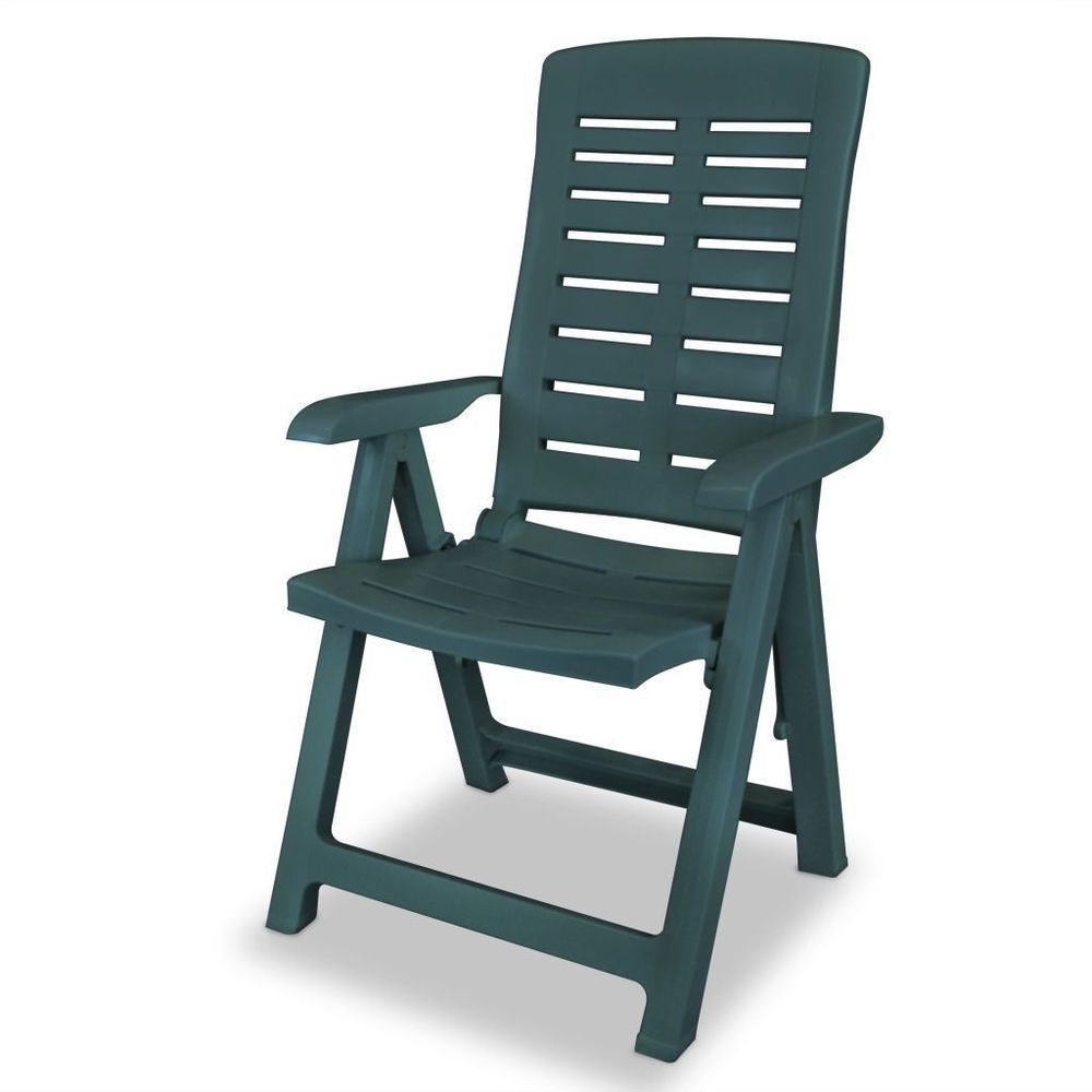 Foldable plastic garden chair green color reclining
