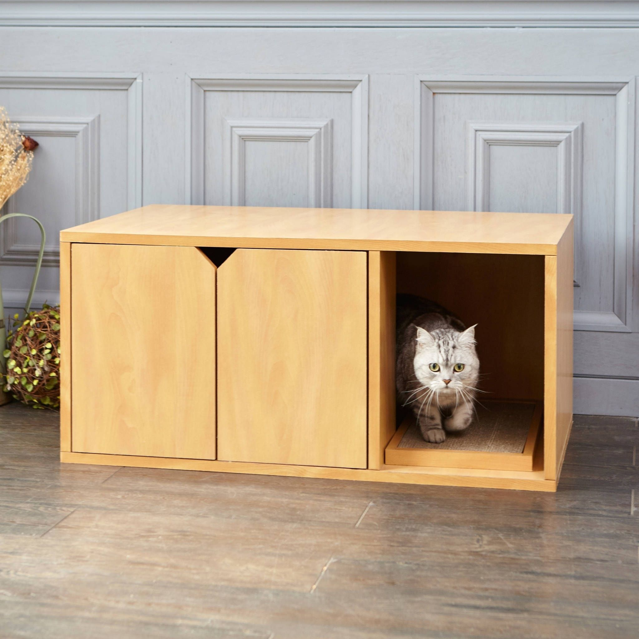 Way Basics Eco Modern Cat Litter Box Furniture Natural Lifetime Guarantee Embly Required Tan