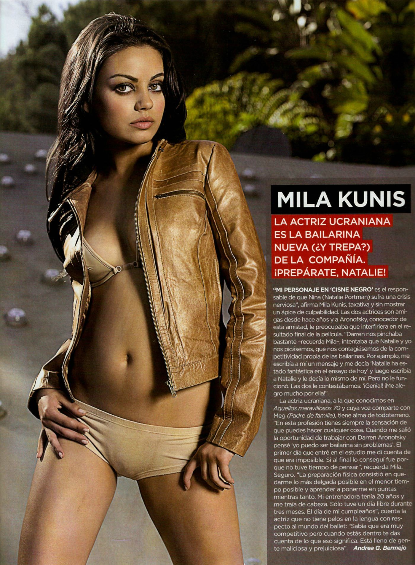 Kuni mila bikini slip mila kunis brown leather jacket for Best women pics