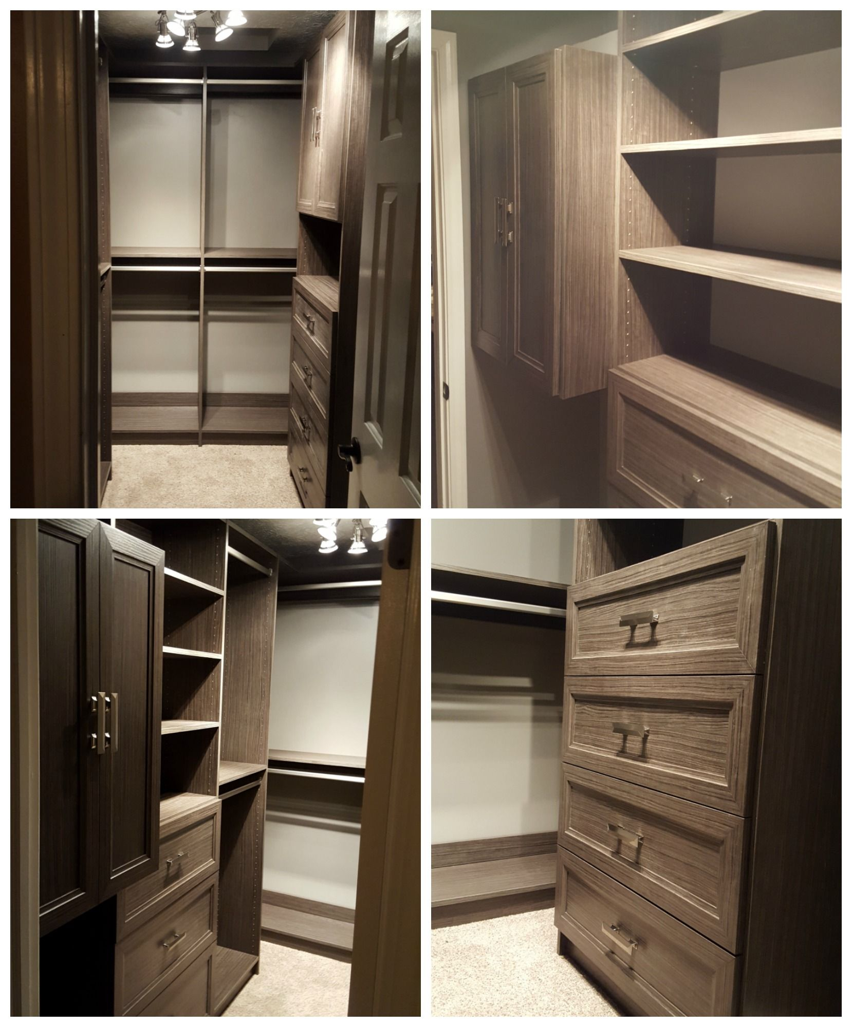 Haze Melamine Walk In Closet With Adjustable Shelving, Doors, Drawers, And  Double