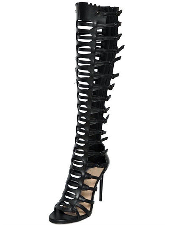 Black dress sandals medium heel - Juoar Women S Gladiator High Heels Back Zipper Buckles Peep Toe Sandals Mid Calf Boots For Casual