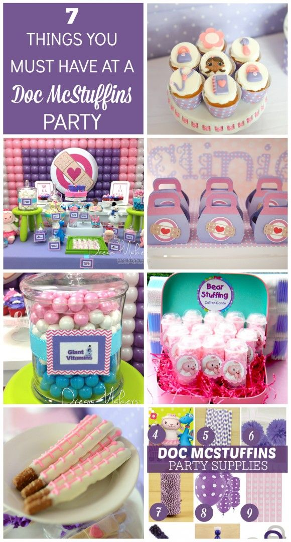 7 must haves for your doc mcstuffins party featuring dessert tabke idea and party supplies i catchmyparty com