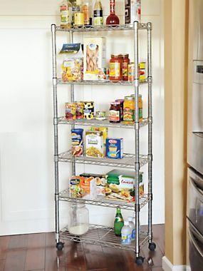 6-Shelf Storage Rack - Slim Rolling Wire Shelves 10  d x 24.5  w x 56  h instantly add storage space | Solutions $109 & 6-Shelf Storage Rack - Slim Rolling Wire Shelves 10