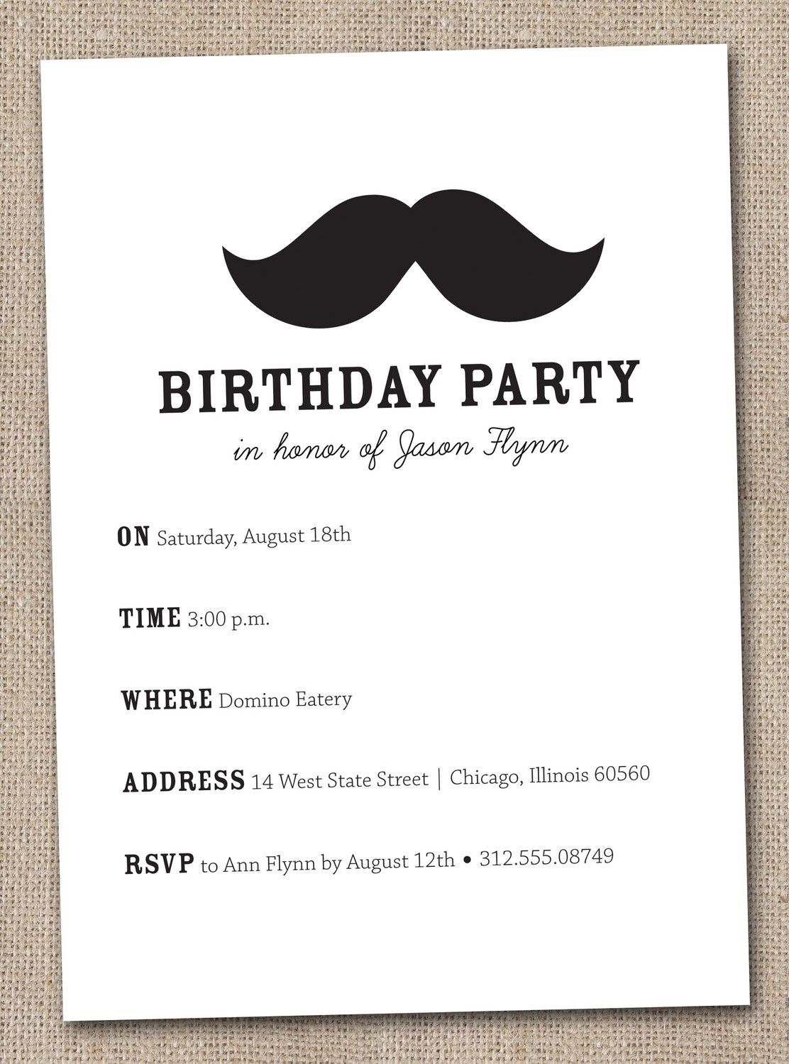 mustache bash birthday party invitations printable digital file mustache bash birthday party invitations printable digital file 16 00 via