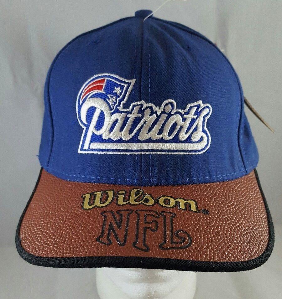 c8fe8245 1990s Vintage NEW ENGLAND PATRIOTS Wilson NFL Strapback Hat American ...