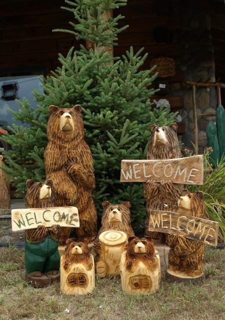 Hand Carved Wood Welcome Bears And Stump Bears Bear