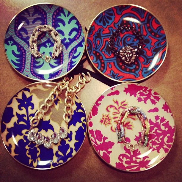 Jewelry on Neiman Marcus x Target plates   photo by glamourmejewels, Instagram