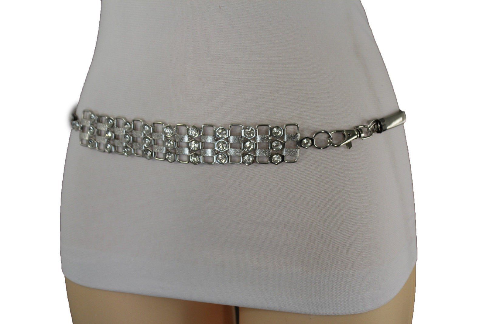 New Women Fashion Wide Belt Gold Stretch Waistband Silver Metal Bling Buckle S M