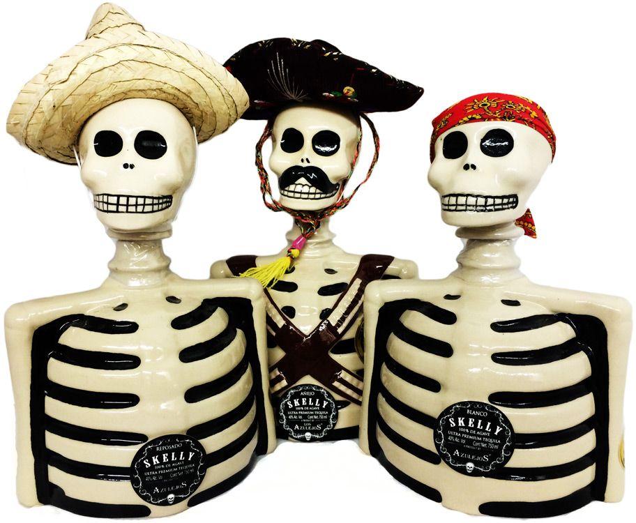 Los Azulejos Skelly Tequila Three Pack Blanco, Reposado