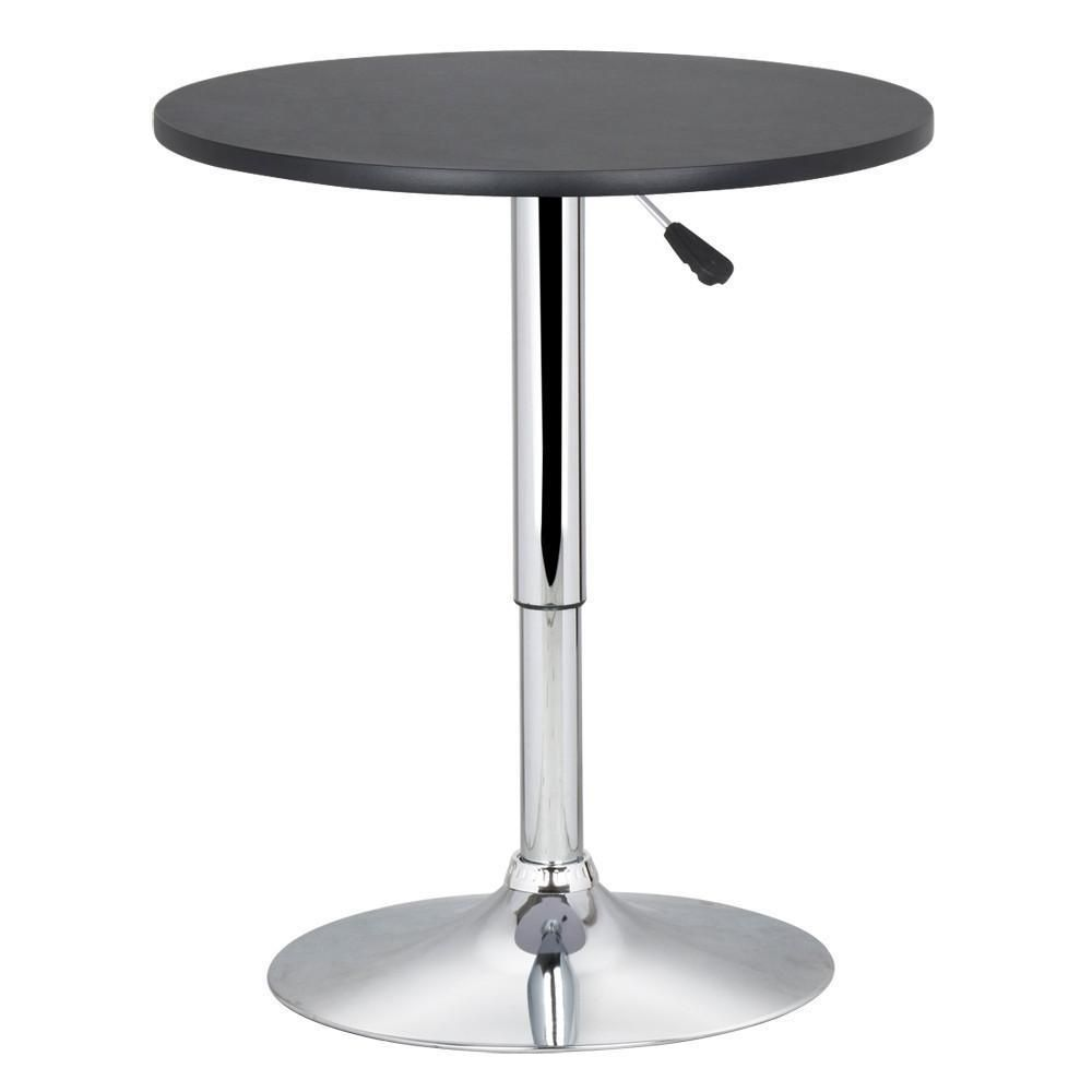 "Adjustable Bar Table 35.8""Dia. Black Bistro Pub Counter Outdoor Indoor Kitchen #globalbid"