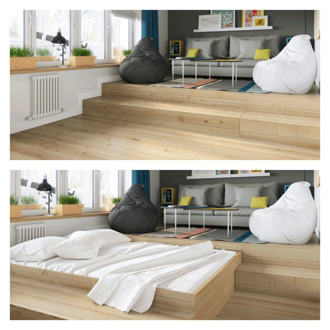 Pull out bed from added raised platform on floor Murphy