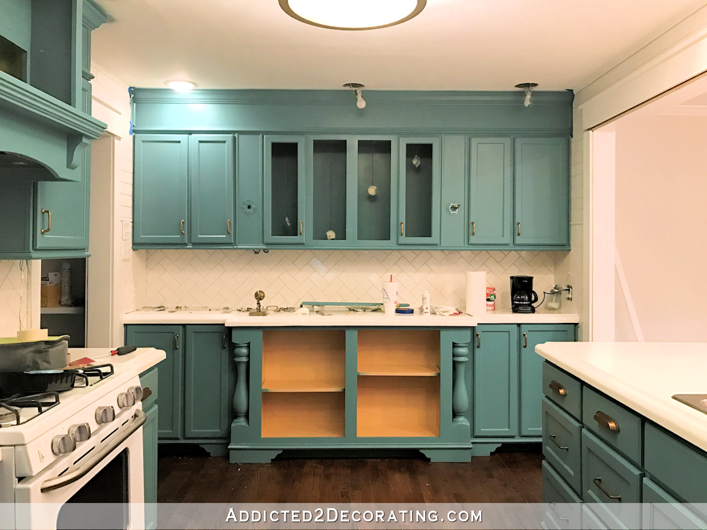 My Freshly Painted Teal Kitchen Cabinets Teal Kitchen Cabinets Teal Kitchen Unfinished Kitchen Cabinets