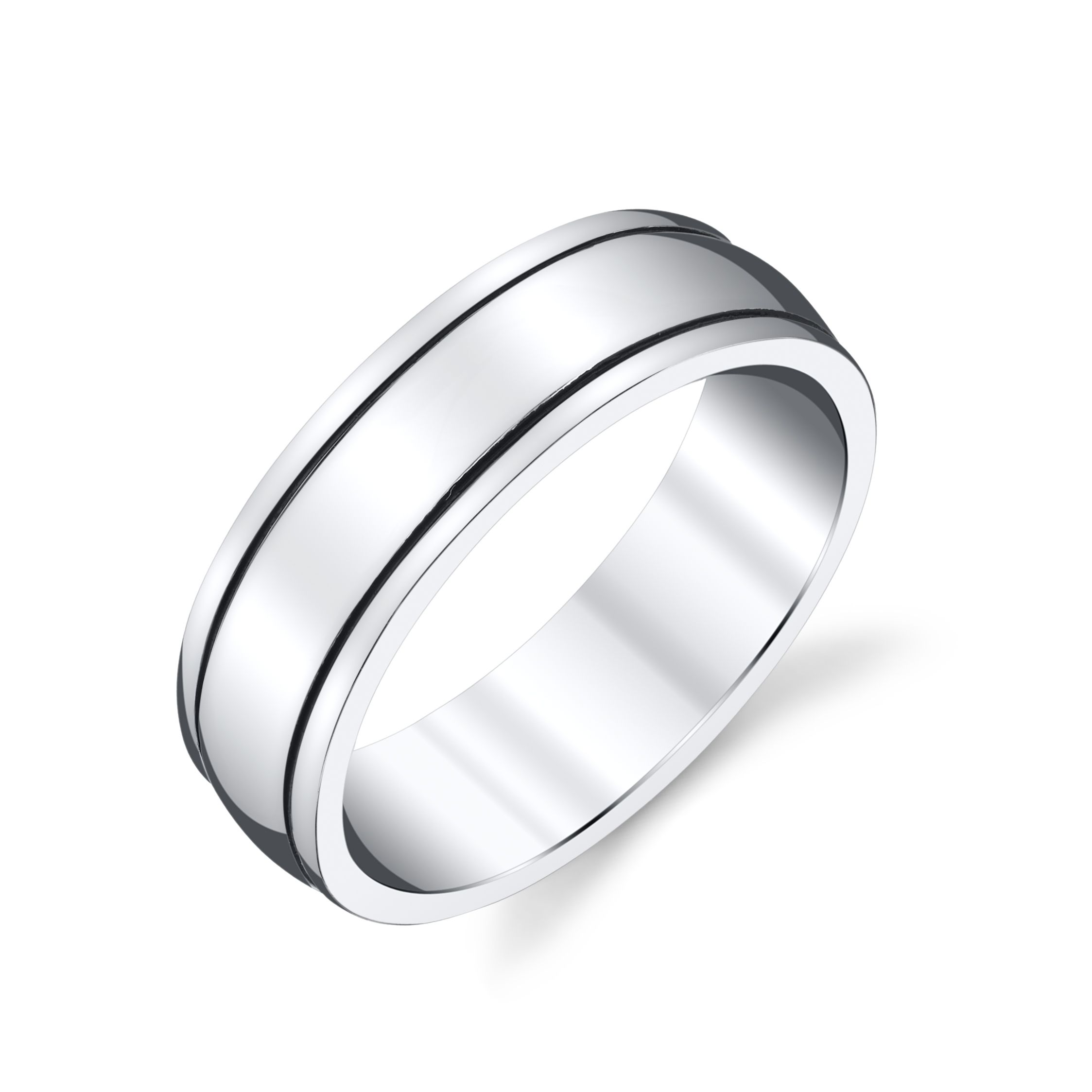 James M Custom Platinum Men S Wedding Band Black Rhodium
