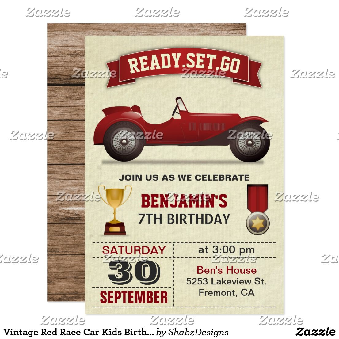 Vintage Red Race Car Kids Birthday Party Invite | { Happy Birthday ...