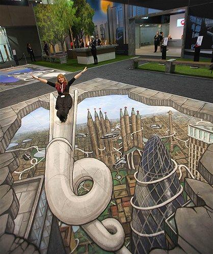Chalk Art Of Futuristic Slide 3d Sidewalk Art Street Art Illusions Street Art 3d Sidewalk Art