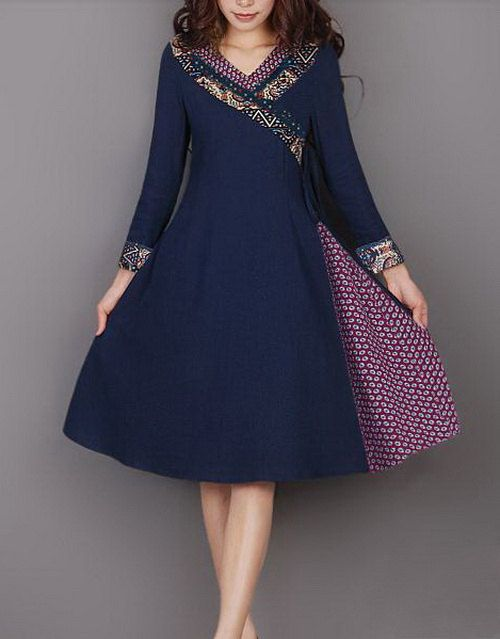 Slant Open Linen Dress by zeniche on Etsy, $58.00