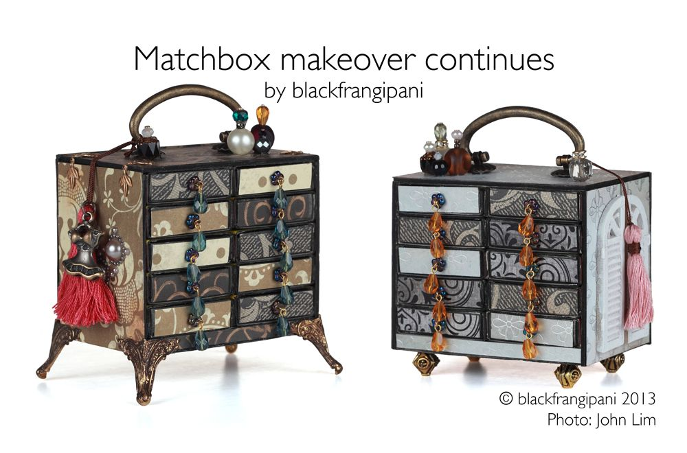 DIY: How to embellish your miniature matchbox chest. Matchbox makeover continues