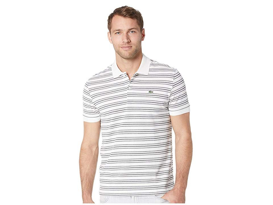1b77b7bf Lacoste Short Sleeve Regular Fit Petit Pique Polo w/ Fine Stripes  (Flour/Stone Chine) Men's Clothing. This Lacoste polo shirt will be your  go-to wardrobe ...