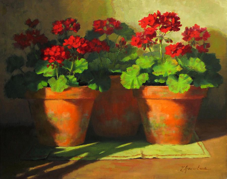 Floral Prints Paintings Painting - Potted Geraniums by Linda Jacobus