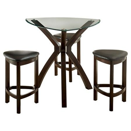 4 Piece Triangular Counter Dining Table Set Wood Espresso