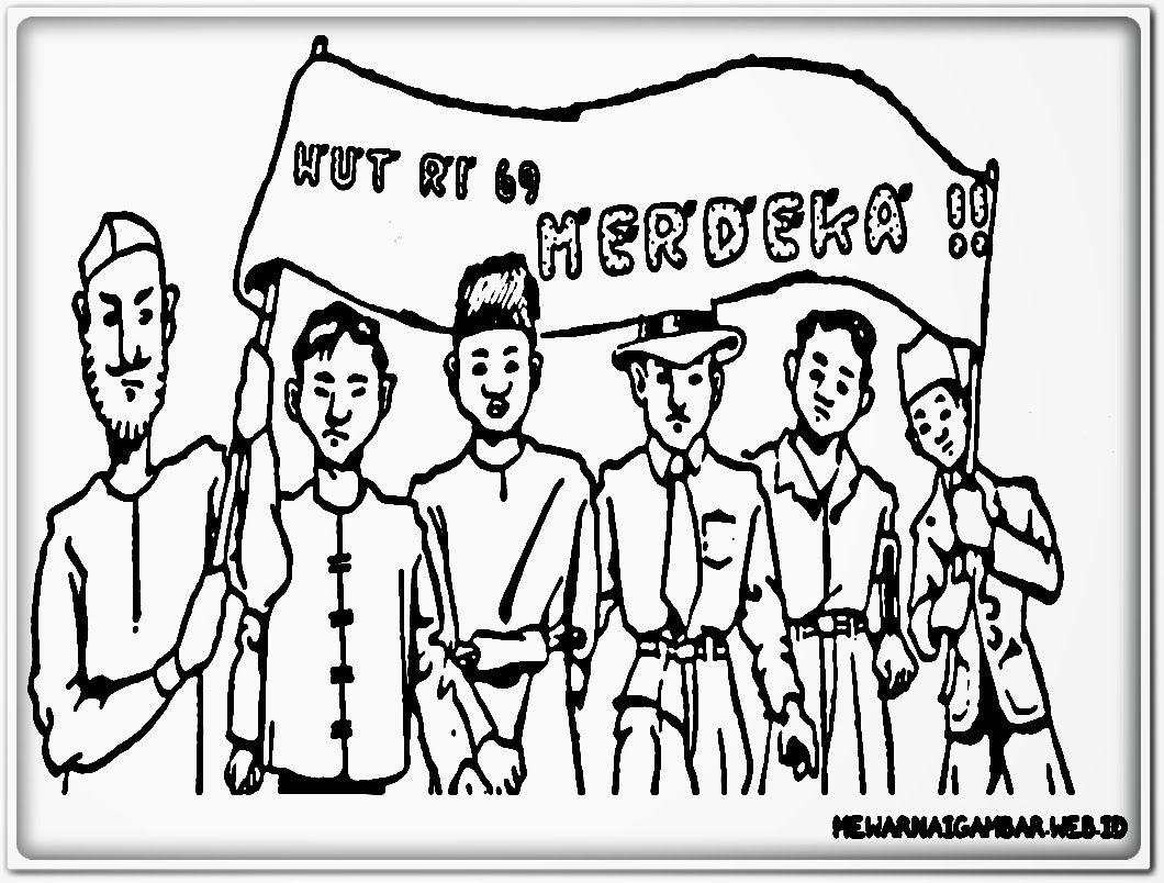 Bertema Hari Kemerdekaan Gambar Warna Kartun