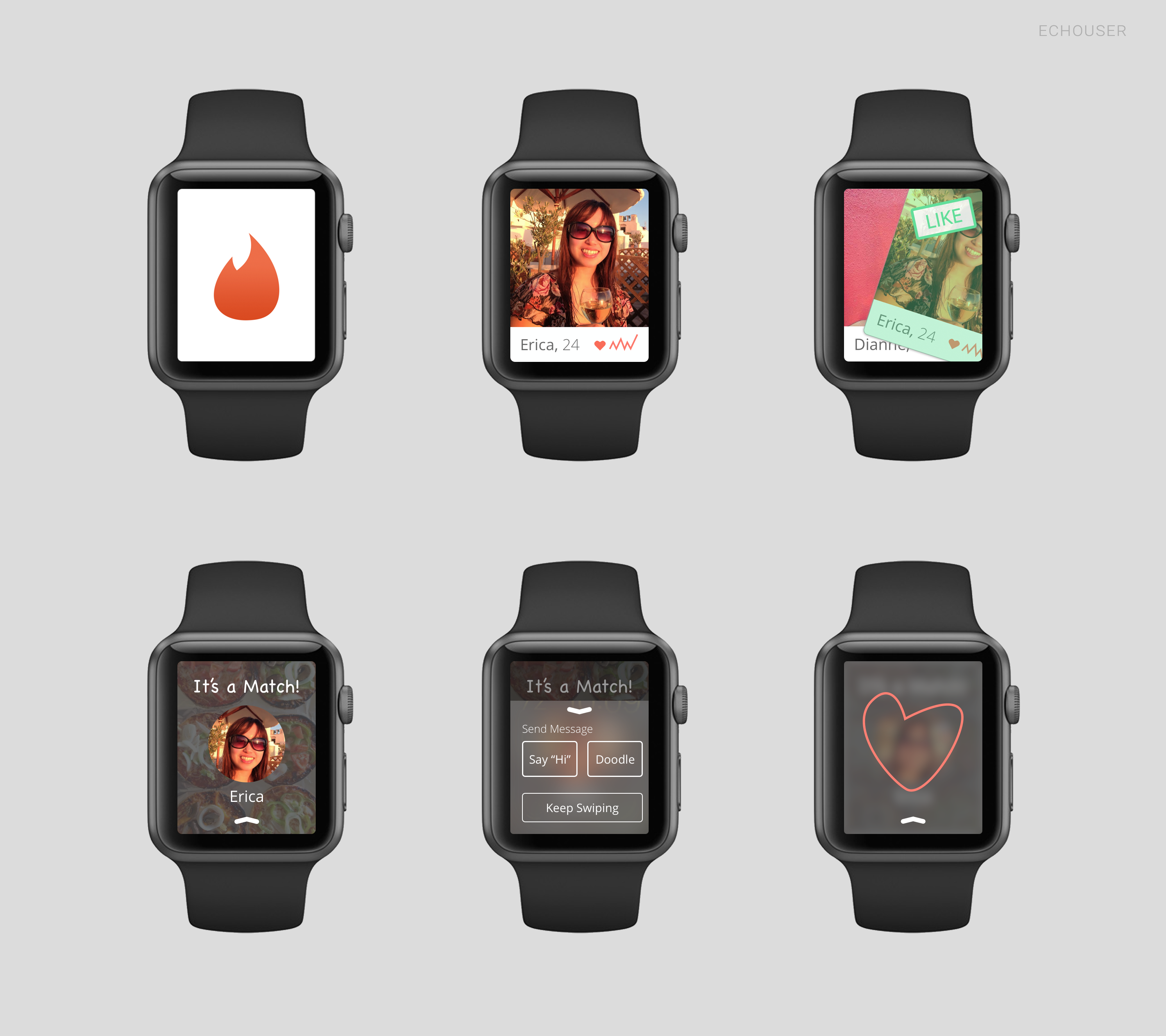 Tinder on Apple Watch Concept Design Follow me for
