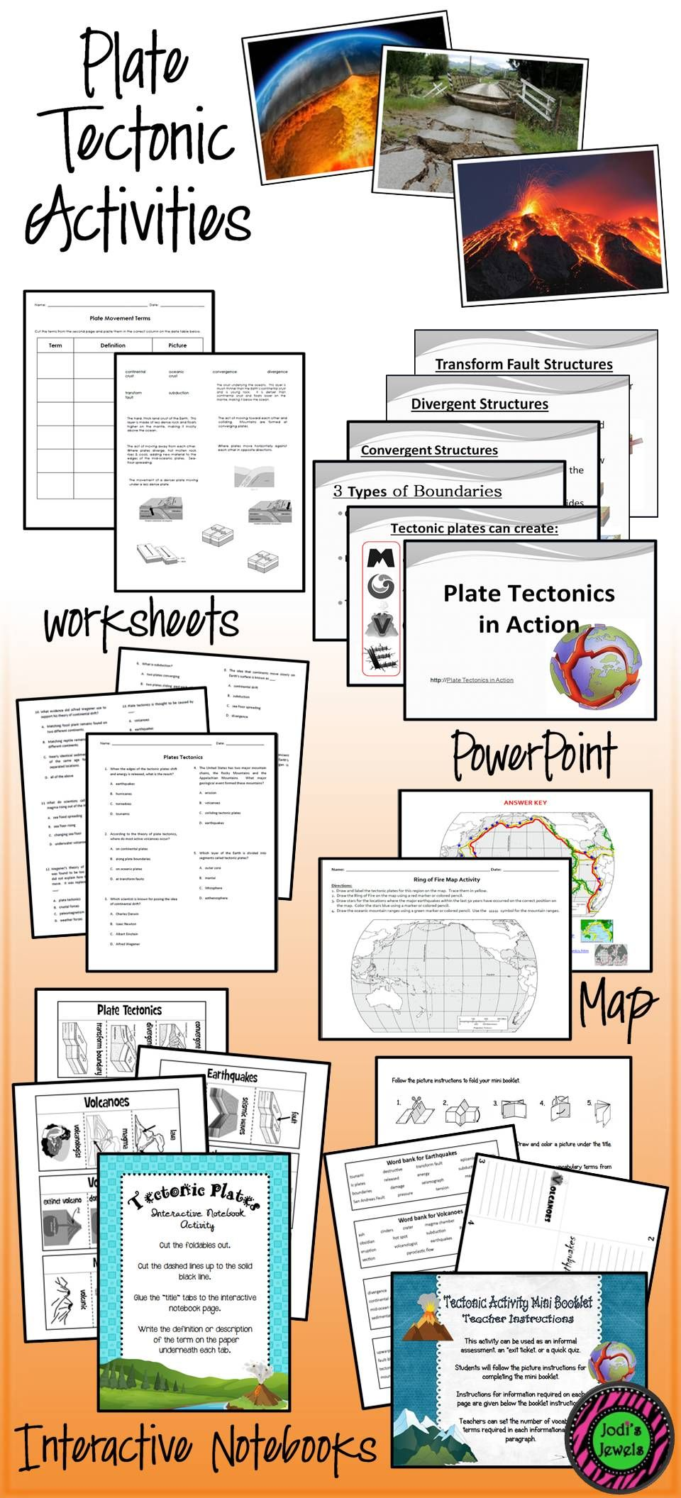 Plate Tectonic Activities For Middle School Include Maps Worksheets Powerpoint Elementary School Science Elementary Science Activities Middle School Science [ 2112 x 960 Pixel ]