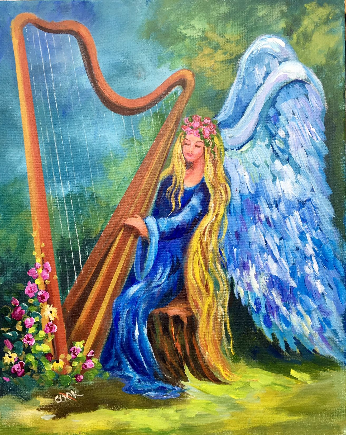 """Angel Playing Harp"""" is our Jan 26th member's weekly release. This 16x20  painting was filmed using 4 cameras and is one of the l… 