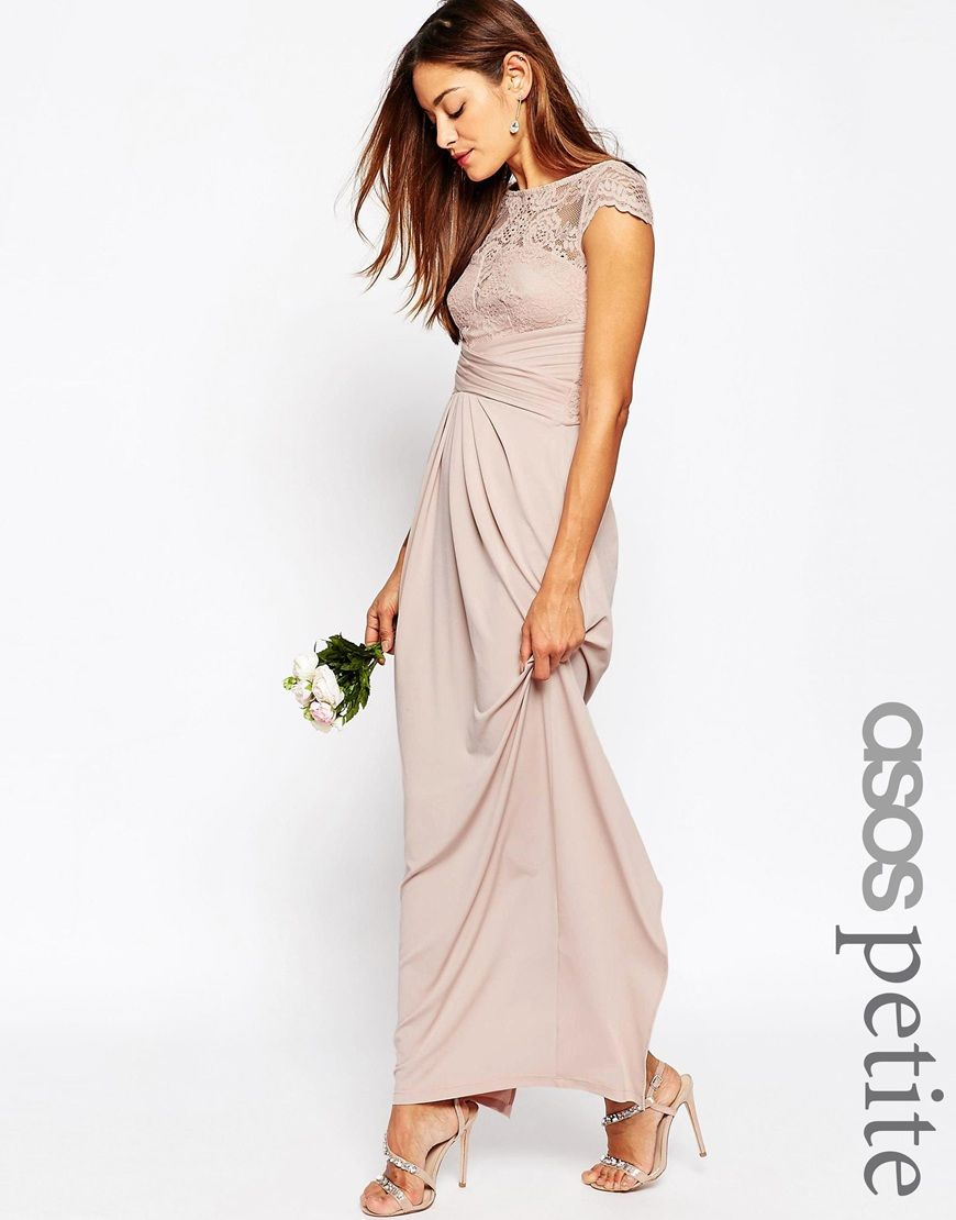 Maxi dress for wedding  ASOS PETITE WEDDING Lace Top Pleated Maxi Dress  Bridesmaids
